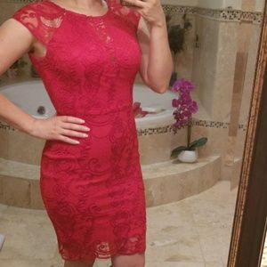 Guess red lace cocktail dress